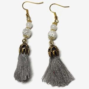 Gray tassel drop earrings
